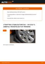 Hvordan bytte og justere Stabstag VW GOLF: pdf håndbøker