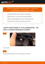 Kuinka vaihtaa moottoriöljy ja öljynsuodatin VW Golf 4-autoon – vaihto-ohje