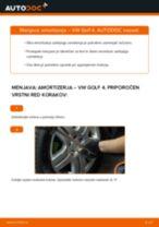 Menjava spredaj in zadaj Blažilnik VW GOLF: spletni vodič