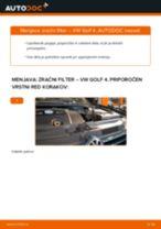 Kako zamenjati avtodel zračni filter na avtu VW Golf 4 – vodnik menjave