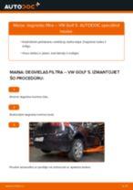 Kā nomainīt: degvielas filtru VW Golf 5 - nomaiņas ceļvedis