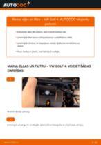 VW GOLF Eļļas filtrs nomaiņa: rokasgrāmata