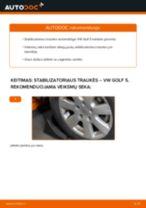Kaip pakeisti VW Golf 5 stabilizatoriaus traukės: priekis - keitimo instrukcija