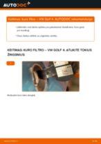 Kaip pakeisti VW Golf 4 kuro filtro - keitimo instrukcija
