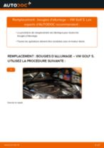 Comment changer : bougies d'allumage sur VW Golf 5 - Guide de remplacement