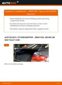 Wie der Wechsel durchführt wird: Stoßdämpfer 335i 3.0 BMW E92 tauschen