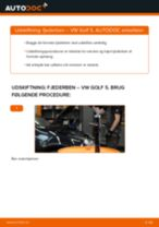 Skifte Støddæmper VW GOLF: værkstedshåndbog