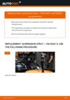 How to change front suspension strut on VW Golf 5 – replacement guide