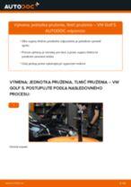 Ako vymeniť predné jednotka prużenia, tlmič prużenia na VW Golf 5 – návod na výmenu