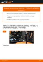 Kako zamenjati avtodel vzmetna noga (blazilnik) spredaj na avtu VW Golf 5 – vodnik menjave