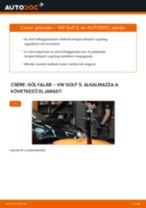 Hogyan cseréje és állítsuk be Gólyaláb VW GOLF: pdf útmutató