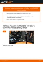 Kaip pakeisti VW Golf 5 pakabos statramstis: priekis - keitimo instrukcija
