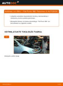 Kaip atlikti keitimą: 1.2 60 Fiat Punto 188 Oro filtras