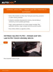 Kaip atlikti keitimą: Elektrik NISSAN LEAF Oro filtras, keleivio vieta