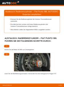 Wie der Wechsel durchführt wird: Radbremszylinder 1.2 60 Fiat Punto 188 tauschen