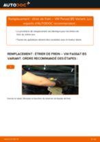 Comment changer et régler Étrier De Frein VW PASSAT : tutoriel pdf