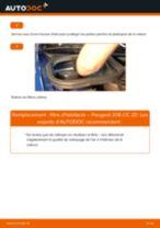 Comment changer : filtre d'habitacle sur Peugeot 206 CC 2D - Guide de remplacement