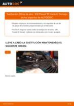 Cómo cambiar y ajustar Elemento filtro de aire VW PASSAT: tutorial pdf