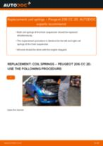 How to replace and adjust Suspension springs PEUGEOT 206: pdf tutorial