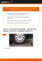 Kuinka vaihtaa jousijalan tukilaakeri taakse VW Passat B5 Variant-autoon – vaihto-ohje