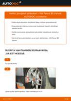 Kuinka vaihtaa jousijalan tukilaakeri eteen VW Passat B5 Variant-autoon – vaihto-ohje