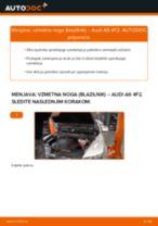 Kako zamenjati avtodel vzmetna noga (blazilnik) spredaj na avtu Audi A6 4F2 – vodnik menjave