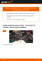 Mainīties VW PASSAT Variant (3B6) Amortizators - soli-pa-solim pamācības PDF