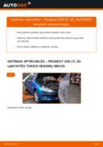 Kaip pakeisti Peugeot 206 CC 2D spyruoklės: priekis - keitimo instrukcija