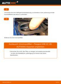 Wie der Wechsel durchführt wird: Innenraumfilter 1.6 16V Peugeot 206 CC tauschen