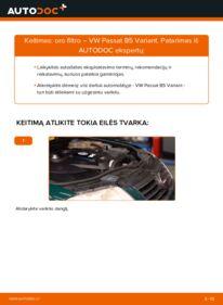 Kaip atlikti keitimą: 1.9 TDI Passat 3B6 Oro filtras