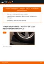 Steg-för-steg-guide i PDF om att byta Stötdämpare i PEUGEOT 206 CC (2D)