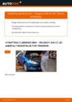 Skifte Fjærbein PEUGEOT 206: gratis pdf