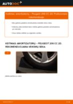 Kaip pakeisti Peugeot 206 CC 2D amortizatorių: galas - keitimo instrukcija