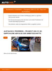 Wie der Wechsel durchführt wird: Stoßdämpfer 1.6 16V Peugeot 206 CC tauschen