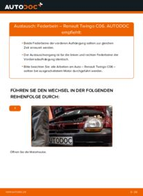 Wie der Wechsel durchführt wird: Stoßdämpfer 1.2 Renault Twingo Mk1 tauschen