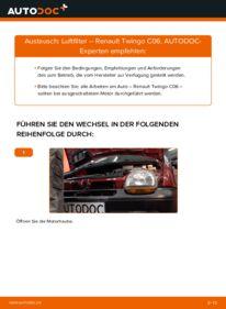Wie der Wechsel durchführt wird: Luftfilter 1.2 Renault Twingo Mk1 tauschen