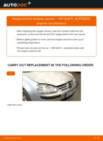 How to carry out replacement: Lambda Sensor on 1.9 TDI Golf 5