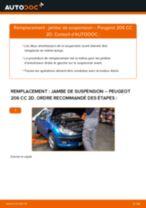 arrière + avant Amortisseurs PEUGEOT 206 CC (2D) | PDF tutoriel de remplacement