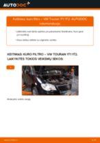 Kaip pakeisti VW Touran 1T1 1T2 kuro filtro - keitimo instrukcija