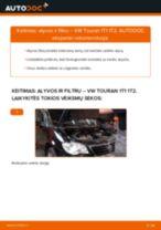 Kaip pakeisti VW Touran 1T1 1T2 variklio alyvos ir alyvos filtra - keitimo instrukcija