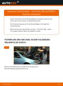 Wie der Wechsel durchführt wird: Bremsbeläge 1.2 60 Fiat Punto 188 tauschen