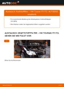 Wie der Wechsel durchführt wird: Kraftstofffilter 1.9 TDI Touran 1T1, 1T2 tauschen