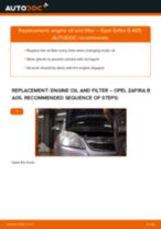Step by step PDF-tutorial on Oil Filter OPEL ZAFIRA B (A05) replacement