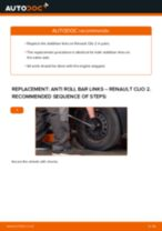 PDF replacement tutorial: Sway bar links RENAULT CLIO II (BB0/1/2_, CB0/1/2_) rear and front