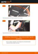 Slik bytter du vindusviskere fremme på en Opel Zafira B A05 – veiledning