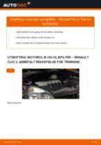 Hvordan bytte Oljefilter RENAULT CLIO II (BB0/1/2_, CB0/1/2_) - guide online