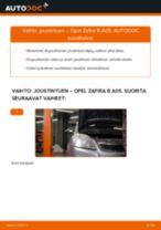 Kuinka vaihtaa joustintuki eteen Opel Zafira B A05-autoon – vaihto-ohje