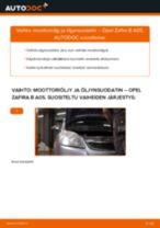 Kuinka vaihtaa moottoriöljy ja öljynsuodatin Opel Zafira B A05-autoon – vaihto-ohje