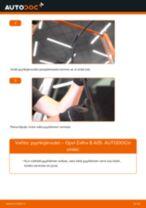 Kuinka vaihtaa pyyhkijänsulat eteen Opel Zafira B A05-autoon – vaihto-ohje
