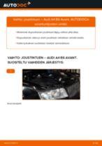 Kuinka vaihtaa joustintuki eteen Audi A4 B6 Avant-autoon – vaihto-ohje
